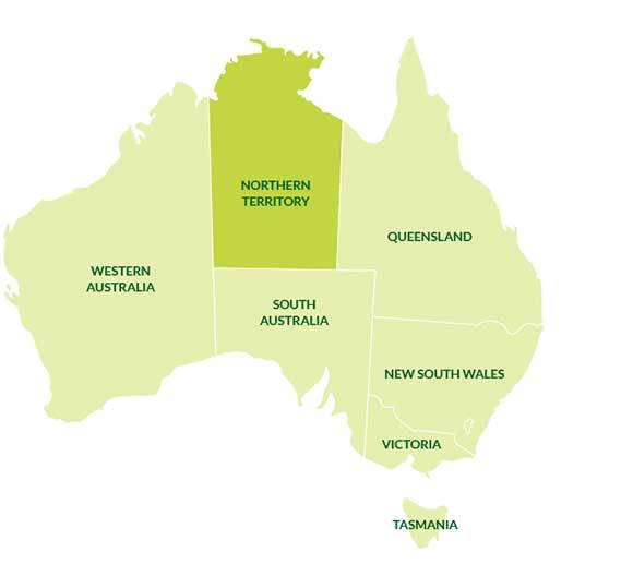 نقشه قلمرو شمالی استرالیا